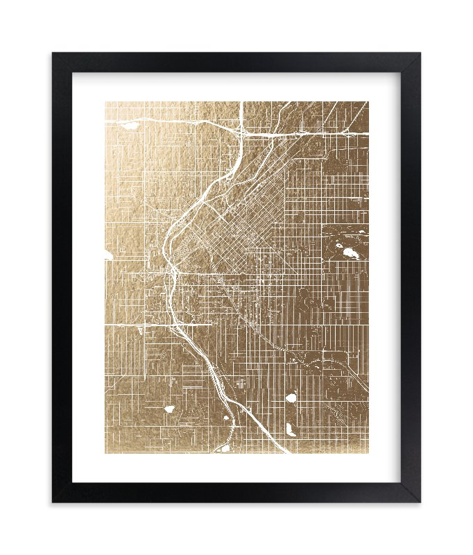"""""""Denver Map"""" - [non-custom] Foil-pressed Art Print by Alex Elko Design in beautiful frame options and a variety of sizes."""