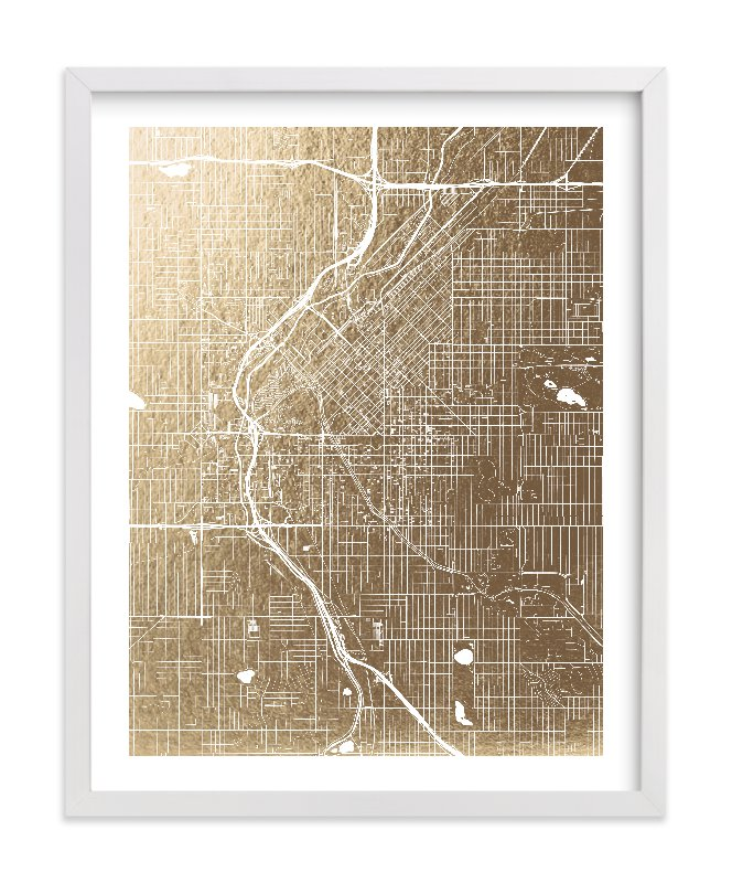This is a gold foil stamped wall art by Alex Elko Design called Denver Map.