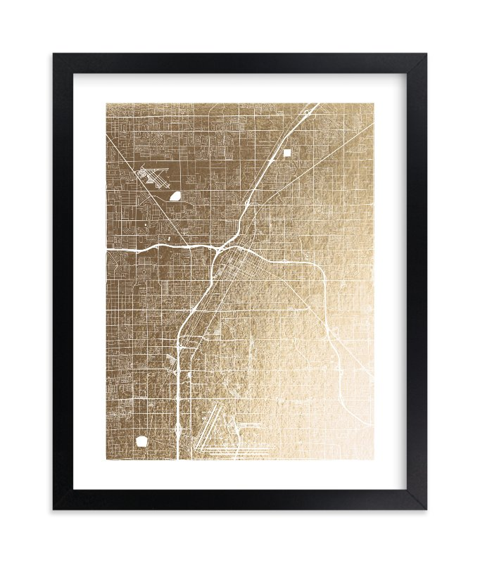 """Las Vegas Map"" - Foil-pressed Art Print by Alex Elko Design in beautiful frame options and a variety of sizes."
