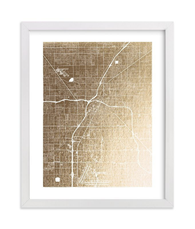 This is a gold foil stamped wall art by Alex Elko Design called Las Vegas Map with standard.