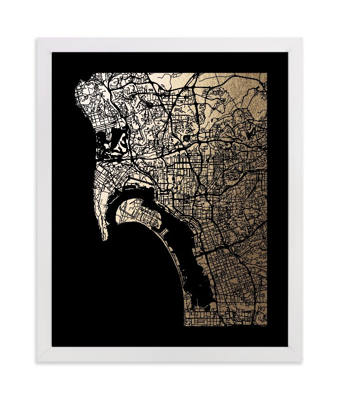 """""""San Diego Map"""" - Foil-pressed Art Print by Alex Elko Design in beautiful frame options and a variety of sizes."""