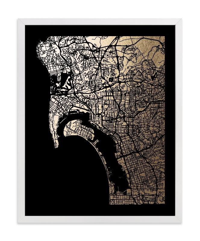 This is a black foil stamped wall art by Alex Elko Design called San Diego Map.