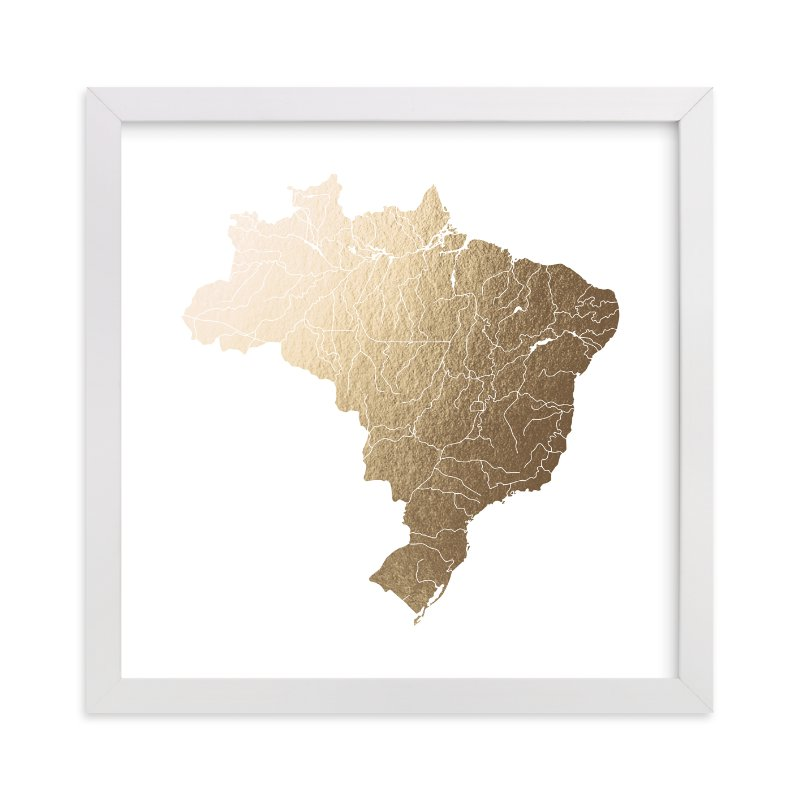 """""""Brazil Map"""" - [non-custom] Foil-pressed Art Print by Jorey Hurley in beautiful frame options and a variety of sizes."""