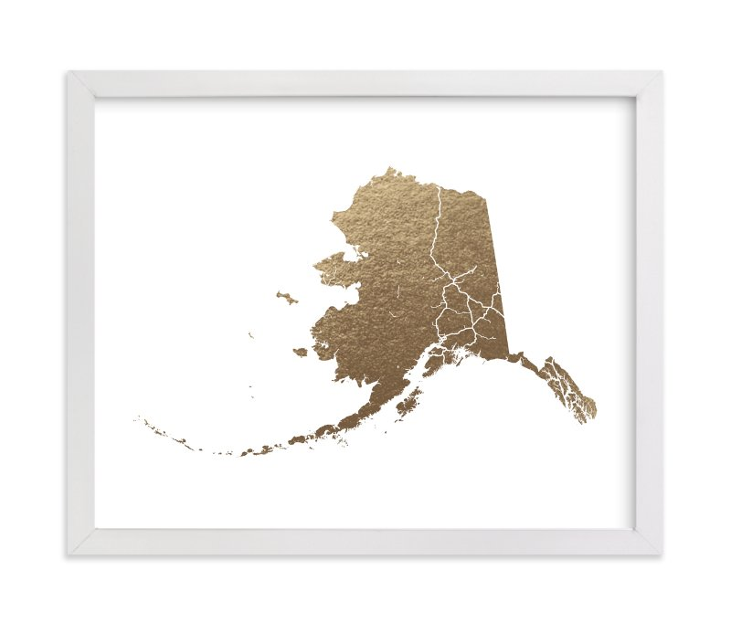 This is a gold foil stamped wall art by GeekInk Design called Alaska Map with standard.