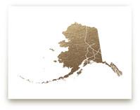 Alaska Map Foil-Pressed Wall Art