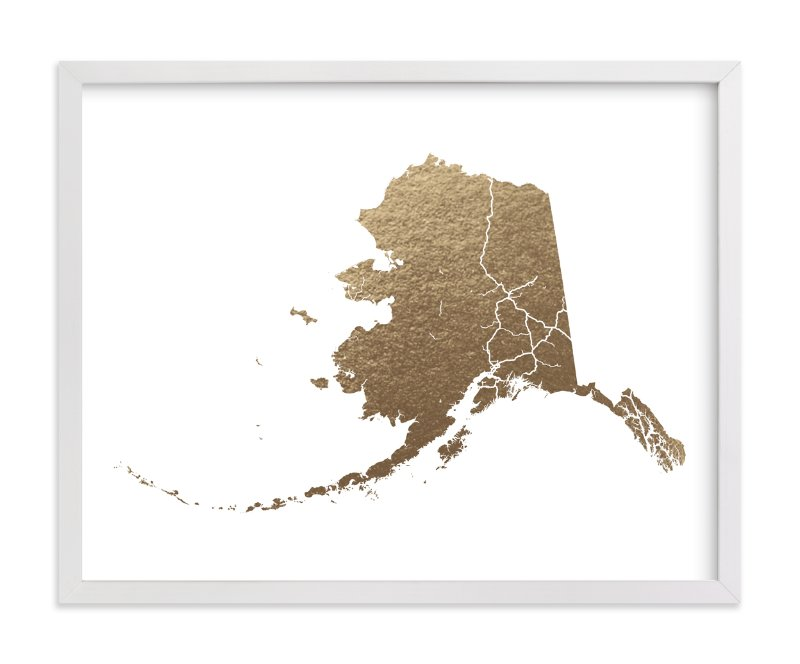 This is a gold foil stamped wall art by GeekInk Design called Alaska Map.