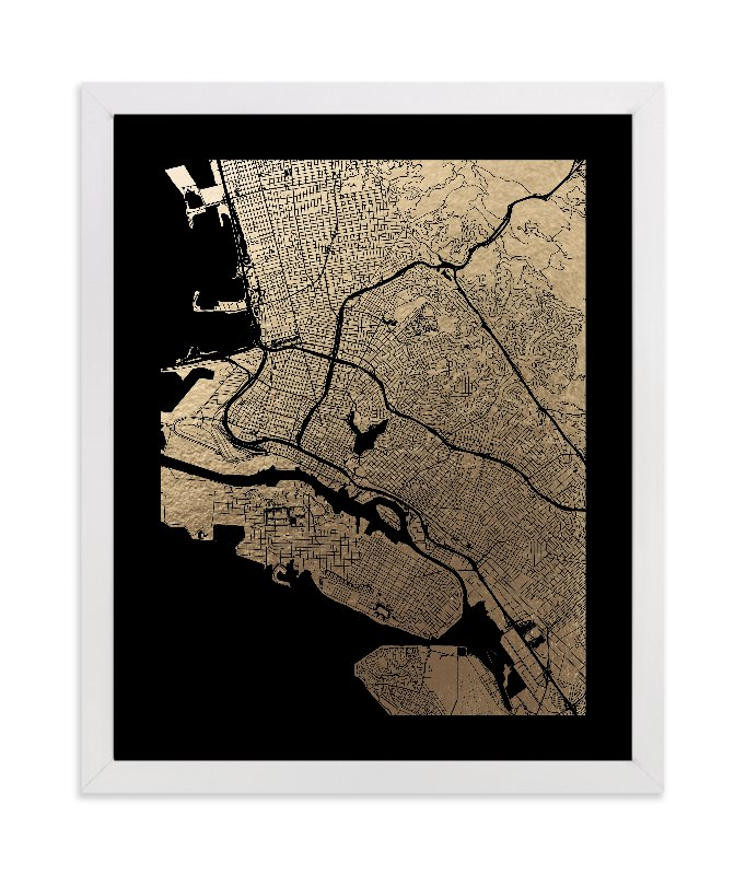 """East Bay Map"" - [non-custom] Foil-pressed Art Print by Alex Elko Design in beautiful frame options and a variety of sizes."