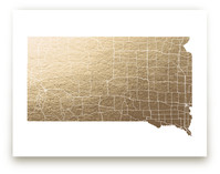 South Dakota Map Foil-Pressed Wall Art