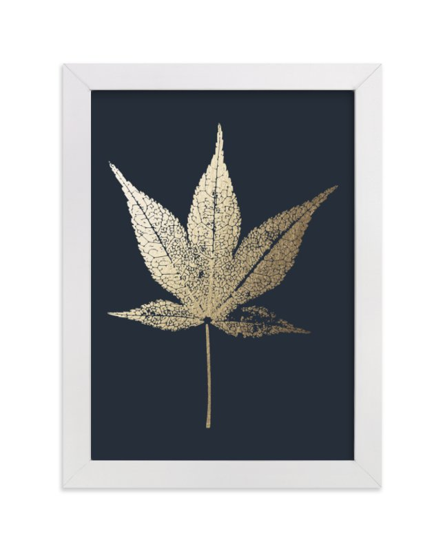 This is a blue foil stamped wall art by LemonBirch Design called Japanese Maple.
