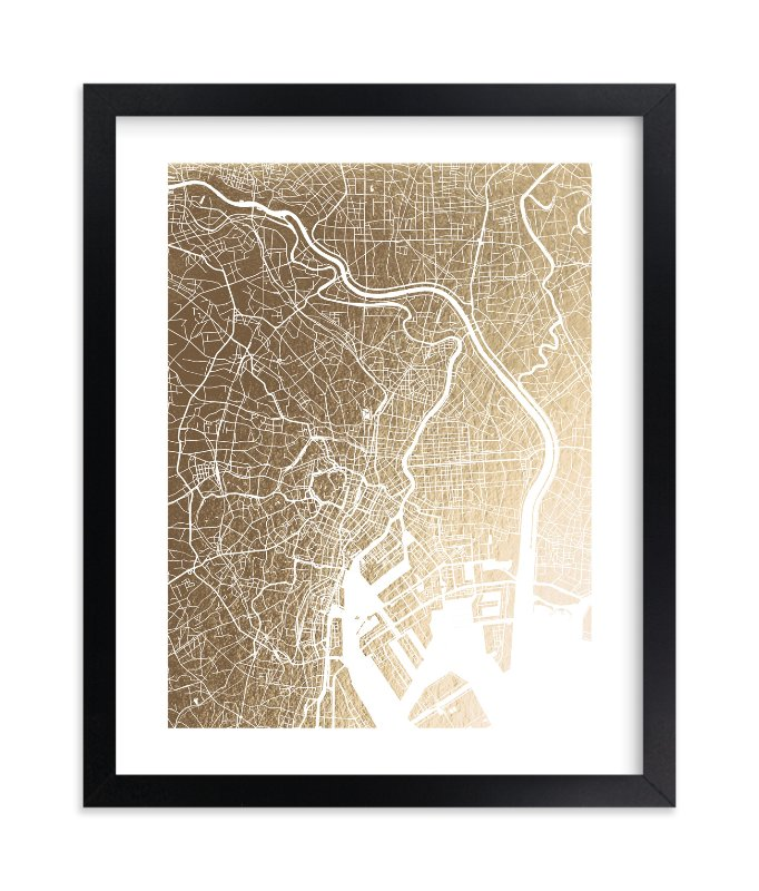 """Tokyo Map"" - Foil-pressed Art Print by Alex Elko Design in beautiful frame options and a variety of sizes."