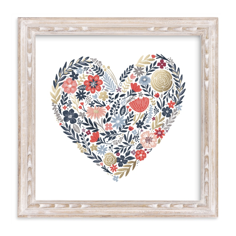 """""""Floral Heart"""" - Foil-pressed Art Print by Hooray Creative in beautiful frame options and a variety of sizes."""