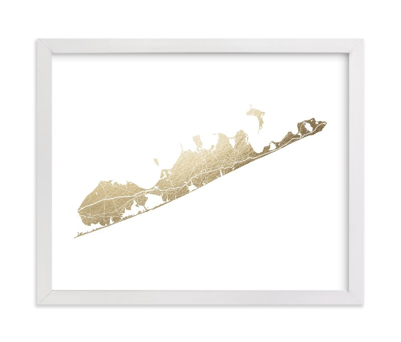 """""""Hamptons Map"""" - Foil-pressed Art Print by Snow and Ivy in beautiful frame options and a variety of sizes."""