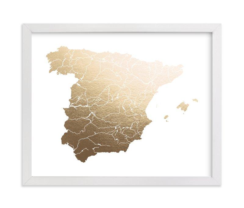 Map Of Spain For Printing.Spain Map Non Custom Foil Pressed Art Print By Jorey Hurley