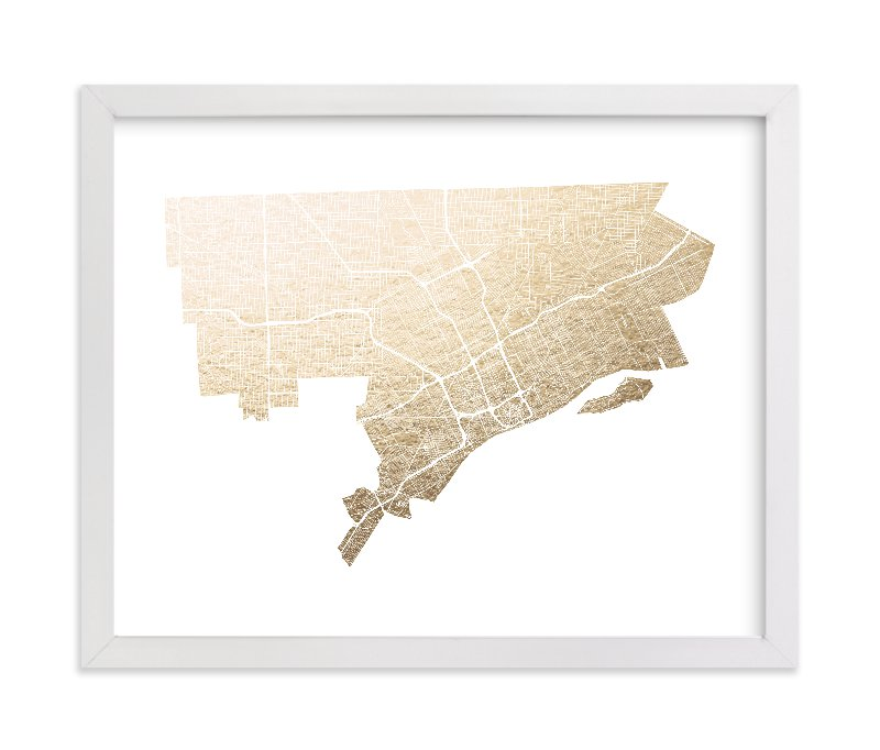 """Detroit Map"" - Foil-pressed Art Print by Alex Elko Design in beautiful frame options and a variety of sizes."