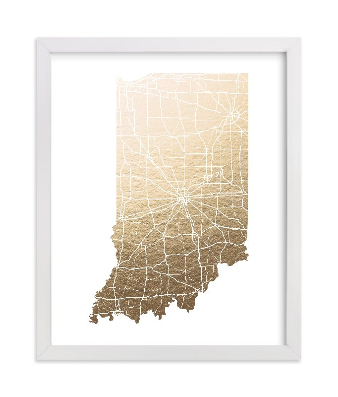 """Indiana Map"" - Foil-pressed Art Print by GeekInk Design in beautiful frame options and a variety of sizes."