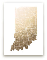 Indiana Map Foil-Pressed Wall Art