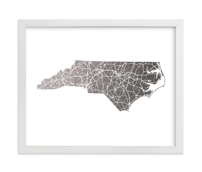 """""""North Carolina Map"""" - [non-custom] Foil-pressed Art Print by GeekInk Design in beautiful frame options and a variety of sizes."""