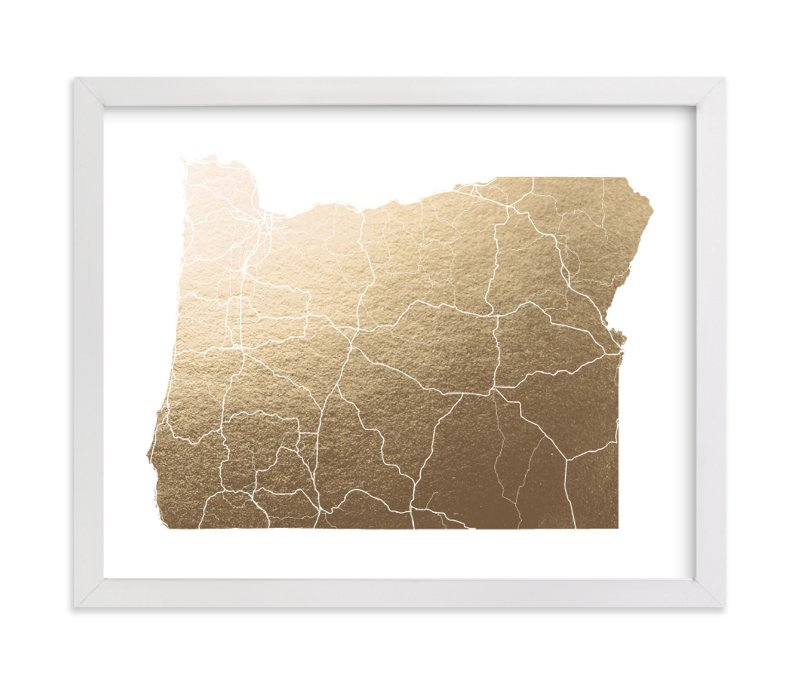 """Oregon Map"" - [non-custom] Foil-pressed Art Print by GeekInk Design in beautiful frame options and a variety of sizes."