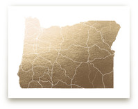 Oregon Map Foil-Pressed Wall Art