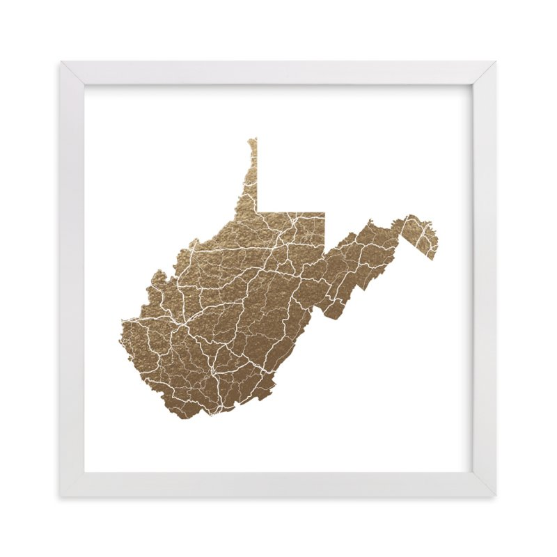 """""""West Virginia Map"""" - Foil-pressed Art Print by GeekInk Design in beautiful frame options and a variety of sizes."""