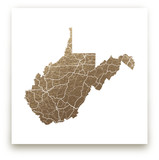 West Virginia Map Foil-Pressed Wall Art