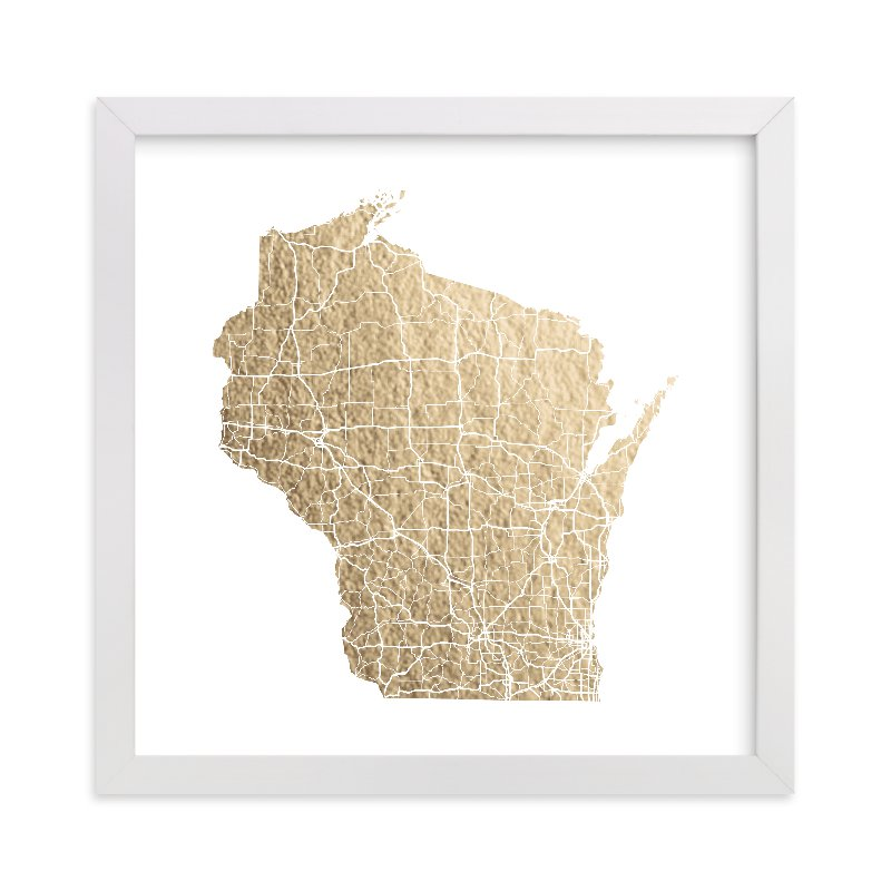 """""""Wisconsin Map"""" - Foil-pressed Art Print by GeekInk Design in beautiful frame options and a variety of sizes."""