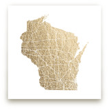 Wisconsin Map Foil-Pressed Wall Art