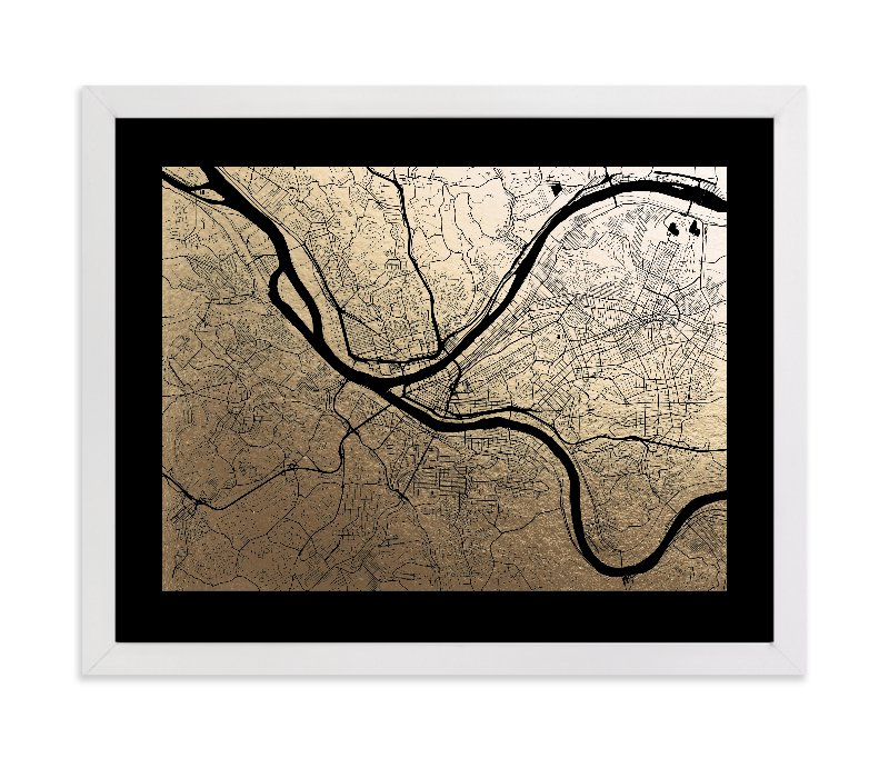 """""""Pittsburgh Map"""" - Foil-pressed Art Print by Alex Elko Design in beautiful frame options and a variety of sizes."""