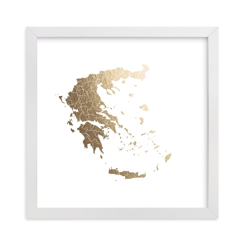 """""""Greece Map"""" - [non-custom] Foil-pressed Art Print by Jorey Hurley in beautiful frame options and a variety of sizes."""