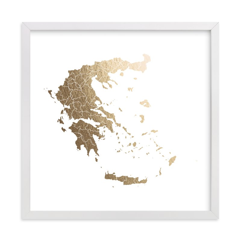 This is a gold foil stamped wall art by Jorey Hurley called Greece Map.