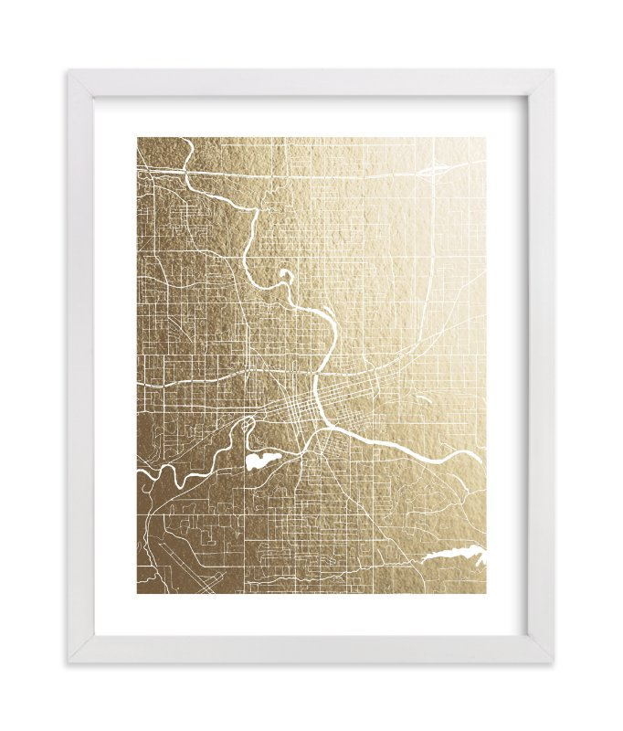 """Des Moines Map"" - [non-custom] Foil-pressed Art Print by Griffinbell Paper Co. in beautiful frame options and a variety of sizes."