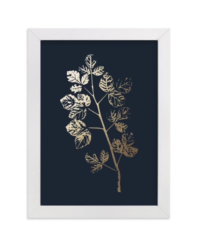 This is a blue foil stamped wall art by LemonBirch Design called Fragrant Sumac Branch.