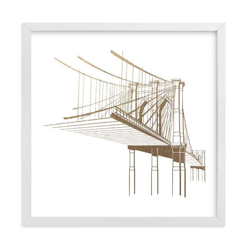 """Brooklyn Bridge"" - Foil-pressed Art Print by Jody Wody in beautiful frame options and a variety of sizes."