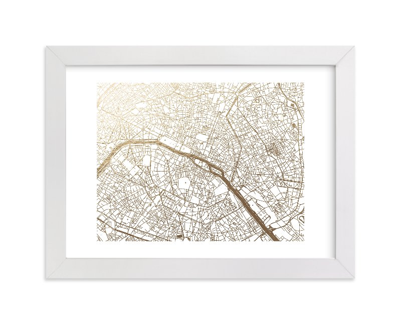 """Paris Map"" - [non-custom] Foil-pressed Art Print by Alex Elko Design in beautiful frame options and a variety of sizes."
