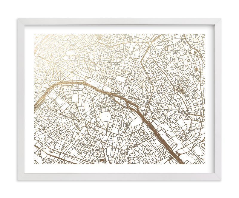 """Paris Map"" - Foil-pressed Art Print by Alex Elko Design in beautiful frame options and a variety of sizes."