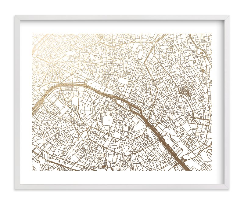 This is a white foil stamped wall art by Alex Elko Design called Paris Map with standard.