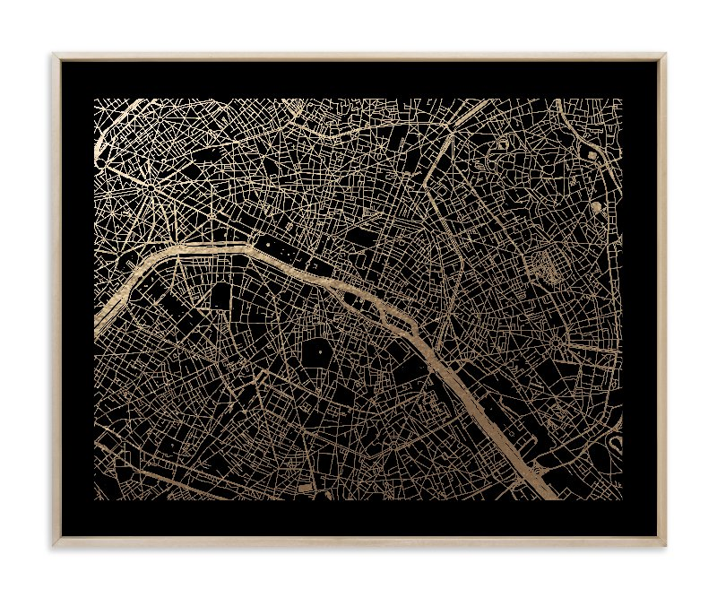 Paris Map Foil-Pressed Art Print
