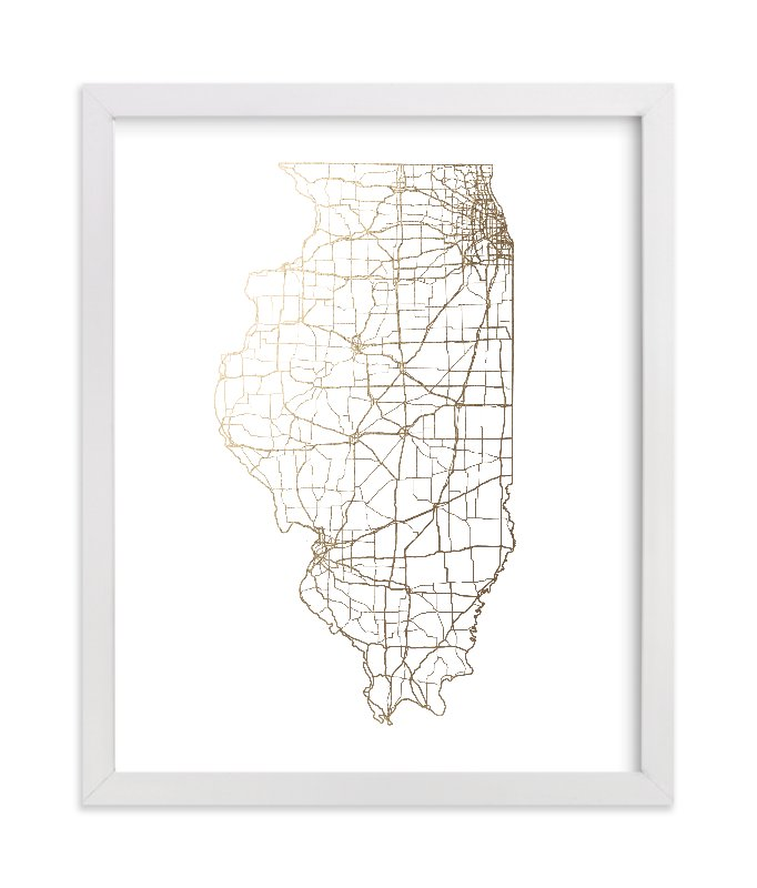 """Illinois Map"" - Foil-pressed Art Print by GeekInk Design in beautiful frame options and a variety of sizes."