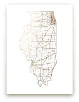 Illinois Map Foil-Pressed Wall Art