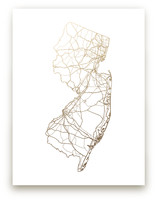 New Jersey Map Foil-Pressed Wall Art