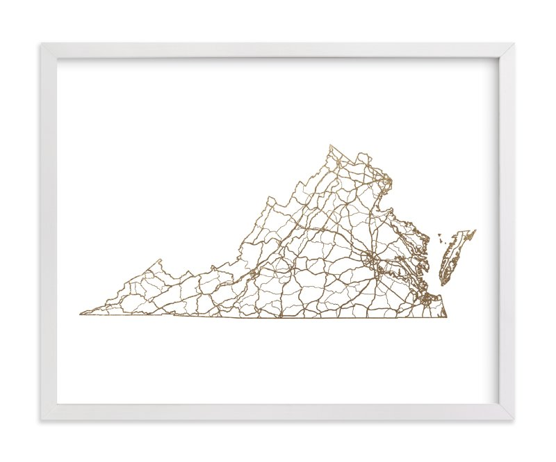 """Virginia Map"" - Foil-pressed Art Print by GeekInk Design in beautiful frame options and a variety of sizes."