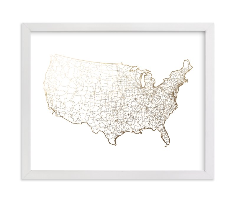 """""""United States Map"""" - Foil-pressed Art Print by GeekInk Design in beautiful frame options and a variety of sizes."""