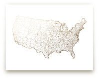 United States Map Foil-Pressed Wall Art