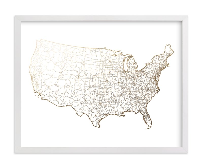 """""""United States Map"""" - [non-custom] Foil-pressed Art Print by GeekInk Design in beautiful frame options and a variety of sizes."""