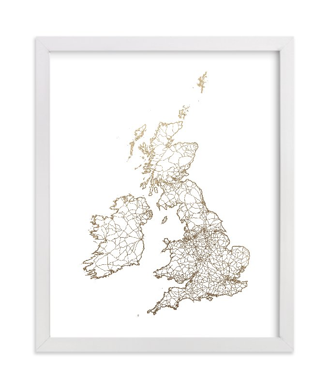 """British Isles Map"" - [non-custom] Foil-pressed Art Print by GeekInk Design in beautiful frame options and a variety of sizes."
