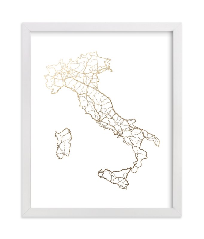"""""""Italy Map"""" - [non-custom] Foil-pressed Art Print by GeekInk Design in beautiful frame options and a variety of sizes."""