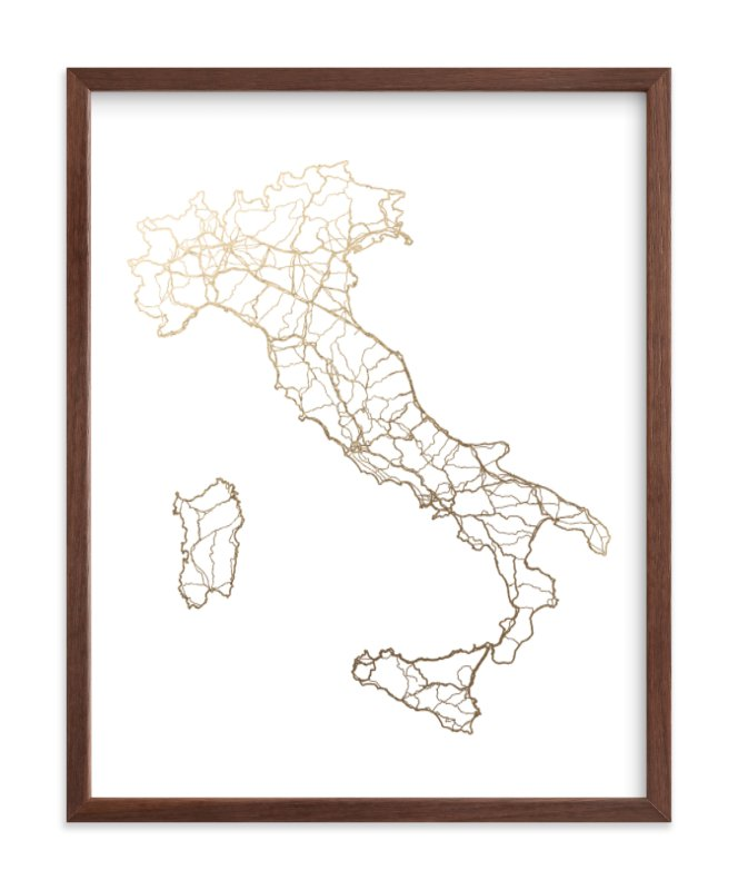 Italy Map Foil-Pressed Art Print