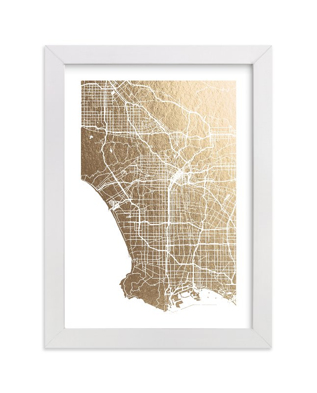 This is a gold foil stamped wall art by Alex Elko Design called Los Angeles Map with standard.