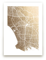 Los Angeles Map Foil-Pressed Wall Art