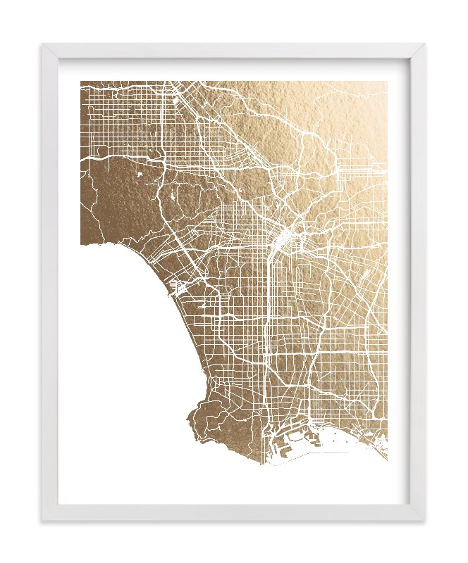 """""""Los Angeles Map"""" - Foil-pressed Art Print by Alex Elko Design in beautiful frame options and a variety of sizes."""
